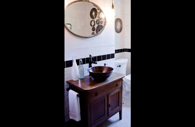 The antique bathroom vanity