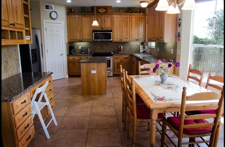 The kitchen is fully appointed and spacious - great for cooking together and entertaining!