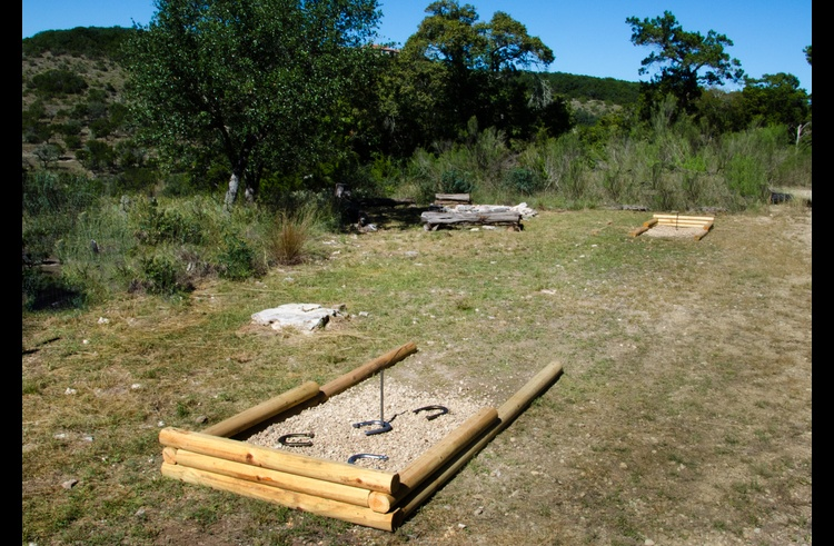 Horseshoe pits for family and group fun!
