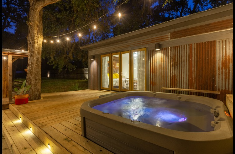 The hot tub is available to groups of all sizes.