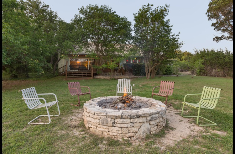 The fire pit is large enough for the whole group and perfect for winter nights and campfire songs.