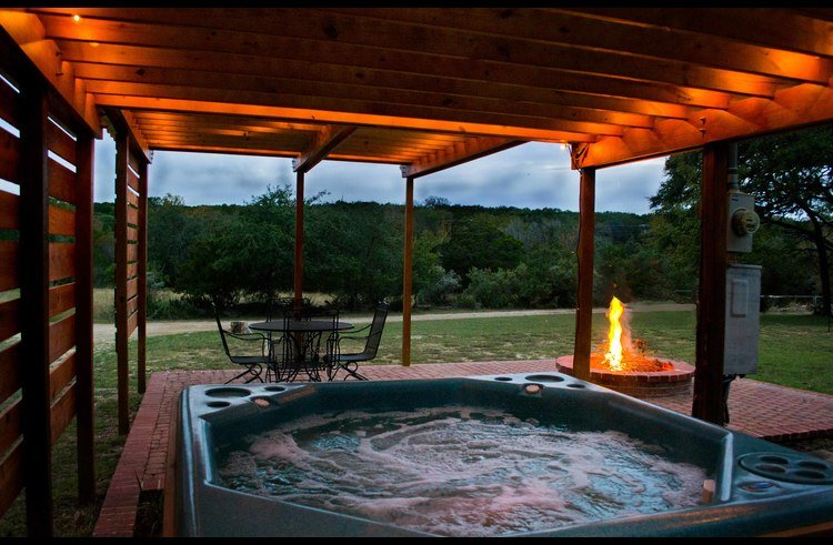 The view of the hills from the hot tub is lovely.